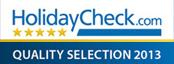 Dank der tolle Bewertungen durch unsere G�ste wurde wir mit der HolidayCheck Quality Selection 2013 ausgezeichnet.